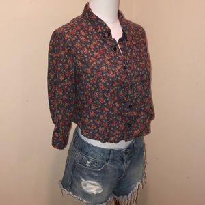 Free People vintage floral button down crop top